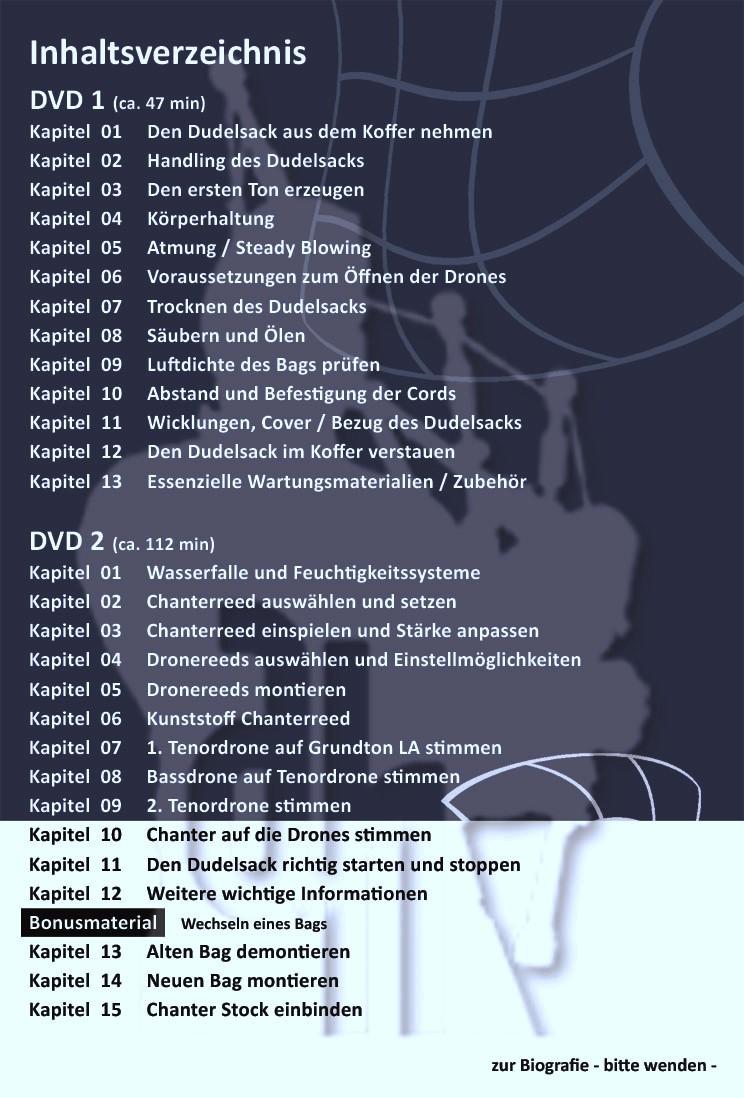 """Dudelsack-Lern-DVDs """"Blau""""- Inhalt"""